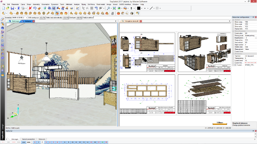 TopSolid'Wood 3D-model met 2D-tekening associatief