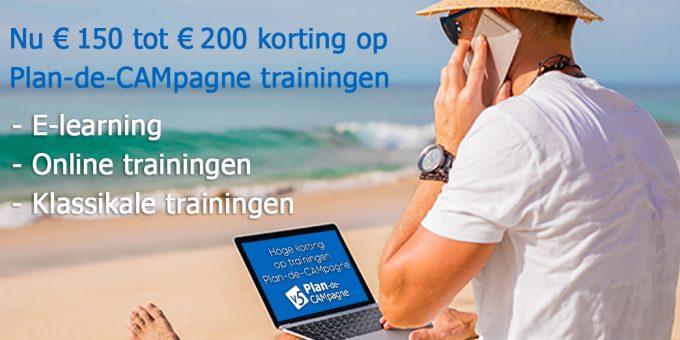 Nu € 150 tot € 200 korting op Plan-de-CAMpagne trainingen (e-learning, online en klassikaal)